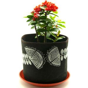 Eco Felt Plant Grow Bag – Black Pohutukawa Design