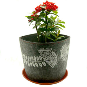 Eco Felt Plant Grow Bag – Grey Pohutukawa Design
