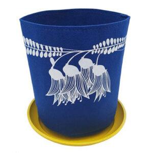 Eco Felt Plant Grow Bag – Royal Blue Kowhai Design